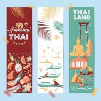 Collection of Thailand symbols on three cards vector
