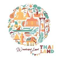 Collection of Thailand symbols vector