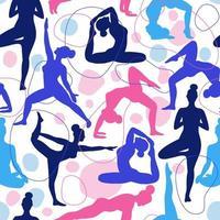 patrón sin costuras de mujeres haciendo yoga vector