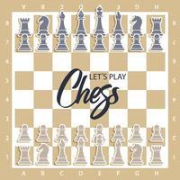 tablero de ajedrez con figuras vector