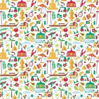 Asian Culture set of bright icons vector
