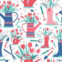 Decorative seamless pattern with garden tools vector