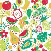 Hawaiian pattern with tropical fruits and flowers vector