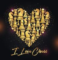 Heart background with chess figures vector