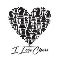 Heart background with chess figures
