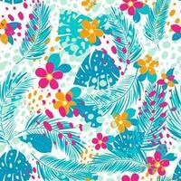 patrón tropical con hojas de palmera y flores. vector