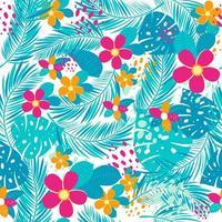 patrón transparente tropical con hojas de palmera y flores vector
