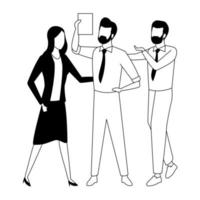 Coworkers with office supplies in black and white