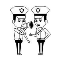 personaje de dibujos animados de policías en blanco y negro vector