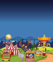 Amusement park scene at night with blank dark blue sky vector