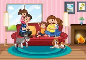 escena con gente en familia relajándose en casa vector
