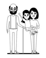 Family cartoon characters in black and white