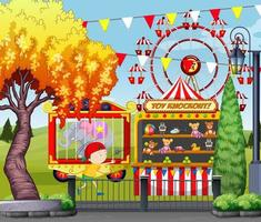 Theme amusement park scene ferris wheel with kid and toy knockout vector