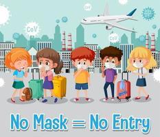 No mask no entry sign