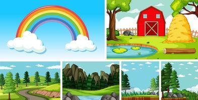 seis escenas de la naturaleza con diferentes ubicaciones.