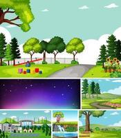 seis escenas diferentes en estilo de dibujos animados de entorno natural