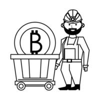 Man and bitcoin cryptocurrency in black and white