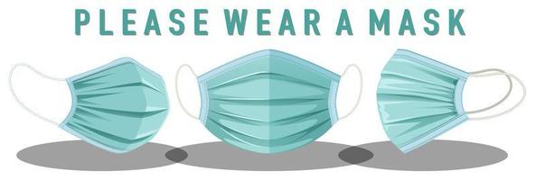 Please wear mask sign vector