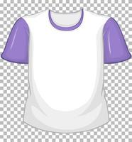 Blank white t-shirt with purple short sleeves on transparent