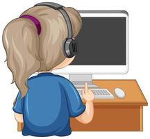 Vista posterior de una niña con computadora en la mesa sobre fondo blanco.