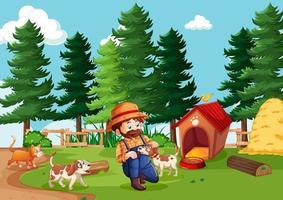 granjero con granja de animales en la escena de la granja en estilo de dibujos animados vector