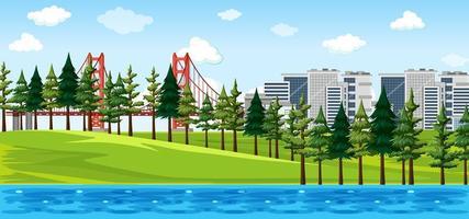 ciudad con escena de paisaje de parque natural vector