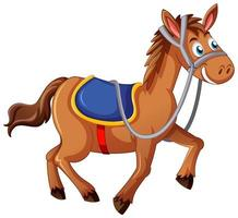 A horse with saddle cartoon character on white background vector