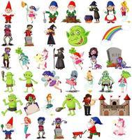 conjunto de personajes de dibujos animados de fantasía y tema de fantasía aislado sobre fondo blanco