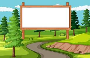 tablero de banner vacío en el paisaje del parque natural