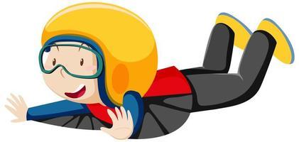 Niño vestido con traje de vuelo con personaje de dibujos animados de posición de vuelo aislado sobre fondo blanco. vector