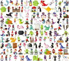 conjunto de personajes de dibujos animados de fantasía y tema de fantasía aislado sobre fondo blanco vector