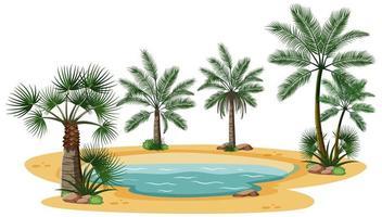 paisaje desértico con elementos de árbol de la naturaleza sobre fondo blanco vector