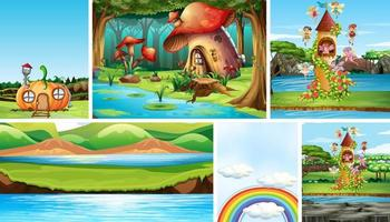 Six different scene of fantasy world with fantasy places and fantasy characters