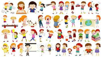 Set of cute kids cartoon character vector
