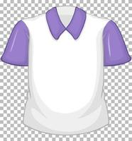Blank white shirt with purple short sleeves on transparent