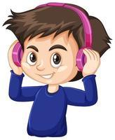 Boy wearing blue shirt using headphone cartoon character isolated vector