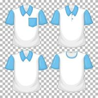 Set of different shirts with blue sleeves isolated on transparent background