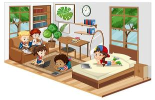 Children in the living room with furnitures