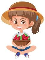 Children girl with fruits or vegetables on white background