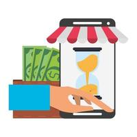 Online shopping and payment technology composition vector