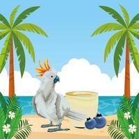 composición de vacaciones de verano, playa y tropical