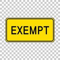 Exempt sign isolated on transparent background