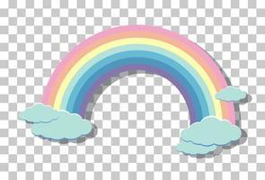 arco iris pastel con nubes aisladas sobre fondo transparente