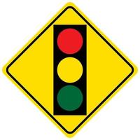 Warning sign for a traffic light on white background vector