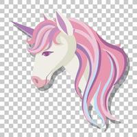 Unicorn head with pink mane isolated on transparent background vector