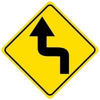 Gire a la izquierda hacia atrás signo amarillo sobre fondo blanco.