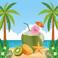 Exotic tropical fruit composition vector