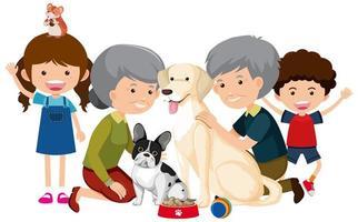 Los miembros de la familia con su perro mascota sobre fondo blanco.