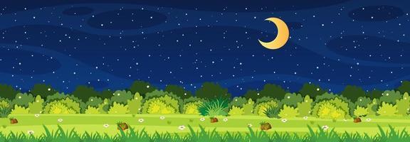 Escena de la naturaleza del horizonte o paisaje de campo con vista al bosque y luna en el cielo por la noche vector