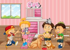 Children playing with their pets in the room scene vector